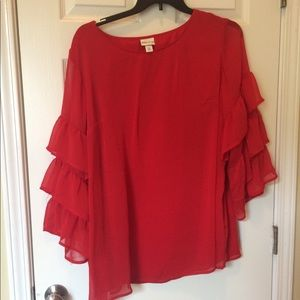 Fun and Flirty Red Tunic Top with Layered Sleeves